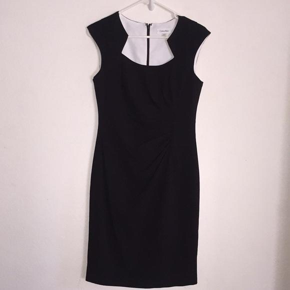 Calvin Klein Dresses & Skirts - Calvin Klein Black Horseshoe Neck Cap Sleeve Dress